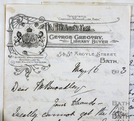 George Gregory letterhead, 5 & 5a, Argyle Street, Bath 1903