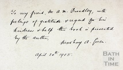 Inscription on frontispiece from Mowbray Green to A.M. Broadley