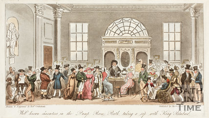Well known Characters in the Pump Room, Bath taking a sip with King Bladud 1825
