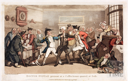 Dr. Syntax present at a Coffeehouse quarrel at Bath 1820