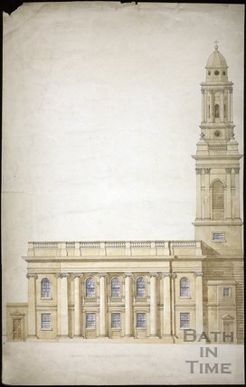 Proposed Design of St. Michael's Church, Bath. Side elevation towards Broad Street