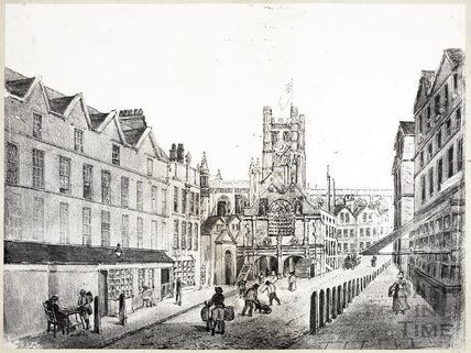 Artist's Impression of High Street (Market Place) before new Guildhall, Bath
