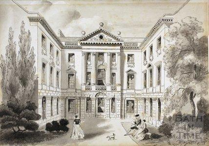 Ralph Allen's Town House, Bath. Artist's impression of view in 1740 c.1858