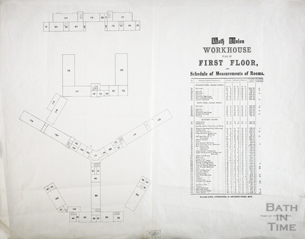 Plan of the First Floor of the Bath Union Workhouse when alterations were carried out.