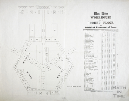 Plan of the Ground Floor of the Bath Union Workhouse when alterations were carried out.