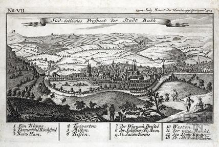 Sud-Ostliches Prospect der Stadt Bath 1752