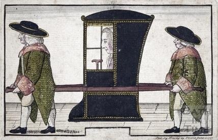 Joseph Basnett in sedan chair 1777