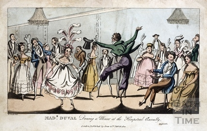 Madame Duval. Dancing a Minuet at the Hampstead Assembly 1822