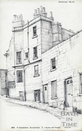 7 Claverton Buildings and 1 Alma Cottages, Bath August 1970
