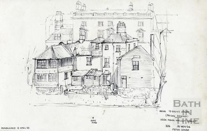 Rear 18 Grove Street, Bath (Prison behind) seen from Walcot Street, Bath 20 November 1964