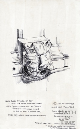Lions head from above. Cold Bath House, 26, Claverton Street 20-Sep-1964