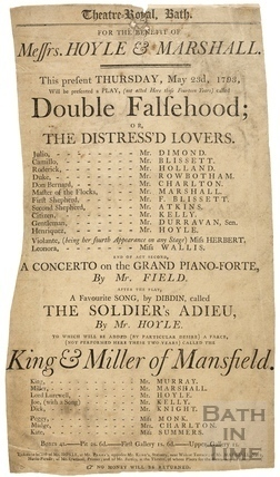Playbill - Double Falsehood or The Distressed Lovers Thursday May 23rd 1793