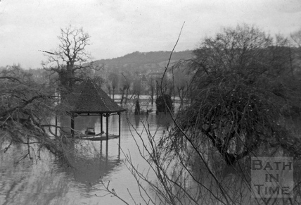 Band stand in Parade Gardens in flood 1964