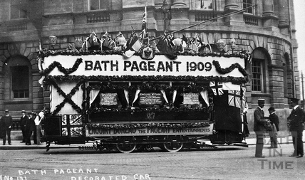 Bath Electric tram outside the Guildhall 1909
