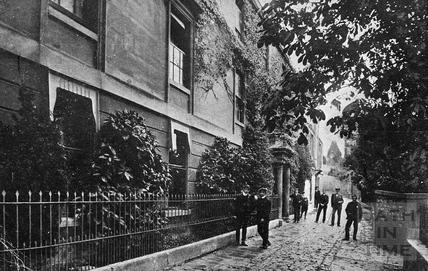 Children standing outside Browning's School, Weston c.1890s