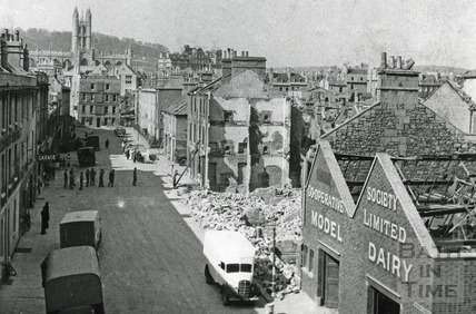 Looking up Newark Street to Philip Street, after the Bath Blitz c.1942