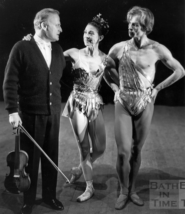 Yehudi Menuhin, Margot Fonteyn and Rudolph Nureyev onstage at the Theatre Royal June 1964