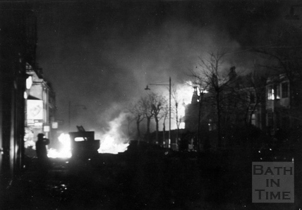 Upper Bristol Road, Bath, ablaze, April 1942