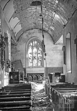 The chapel of St Mary Magdalene, Holloway, Bath, shattered by the blast April 1942