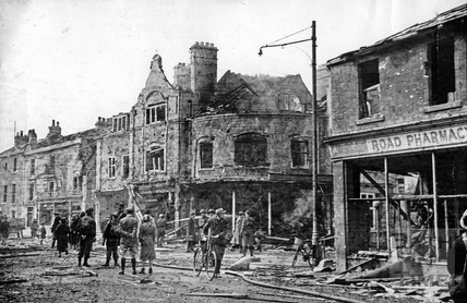 Burnt out shops on the Bear Flat, Bath, April 1942