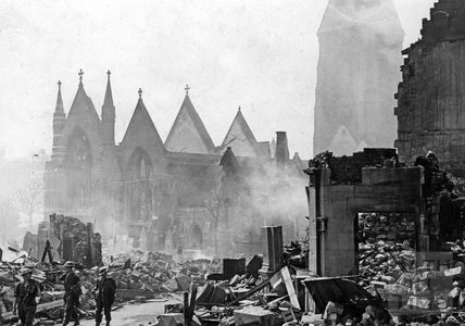St Andrews church, Julian Road, Bath, the morning after the Bath Blitz, April 1942