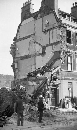 The Paragon after wartime bombing, Bath, April 1942