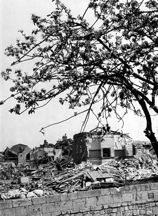 A blitzed area of Bath, possibly Chaucer Road, Bath, May 1942