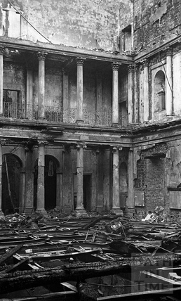 The burnt out tea room of the Assembly Rooms April 1942