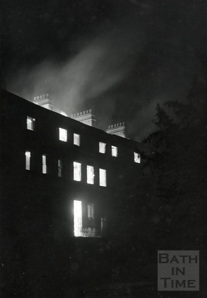 Green Park East, Bath, on fire April 1942