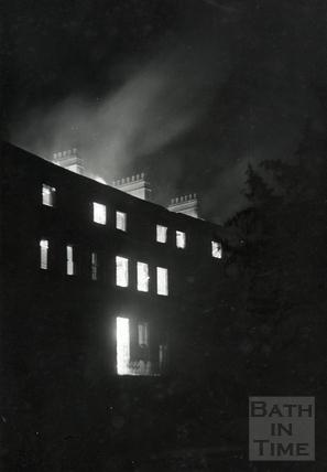 Green Park East, Bath, on fire April 1942