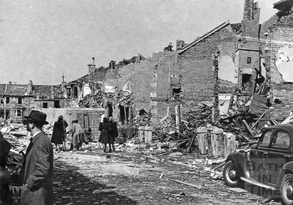 Devastation in Victoria Road, Brougham Hayes, Bath, April 1942
