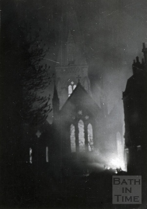 The east window of St Andrews Church, Bath, April 1942