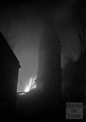 St James Church, Bath on fire April 1942