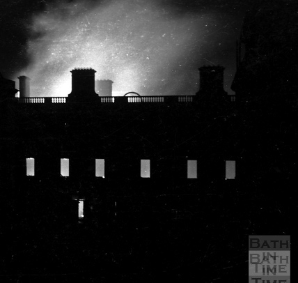 The Assembly Rooms burning at the height of the raid, Saturday April 25th 1942