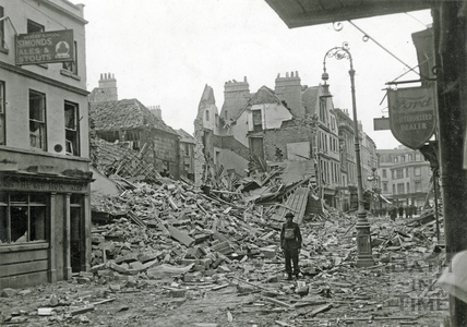 Rubble in Kingsmead Street, Bath, April 1942