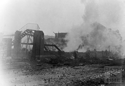 The smoking ruins of the Gas Works April 1942