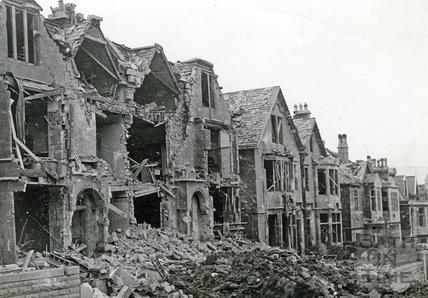 Blast damage in Marlborough Lane, Bath, April 1942