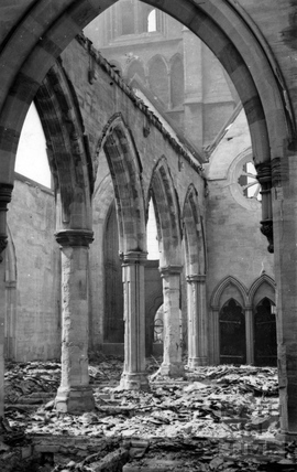 The burnt out interior of St Andrews church April 1942