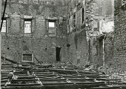 The burnt out ballroom of the Assembly Rooms, Bath, April 1942