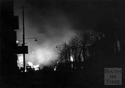 Upper Bristol Road, Bath, ablaze April 1942