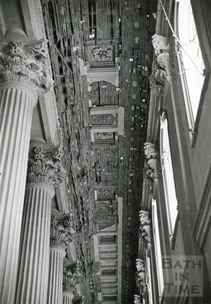 Damage to the ceiling of the chapel at Prior Park College, Bath, April 1942