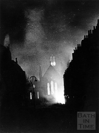 St Andrews, Julian Road, on fire April 1942
