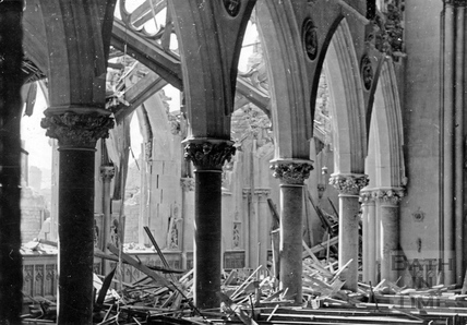 The bombed interior to St Johns Roman Catholic church in South Parade, Bath, April 1942