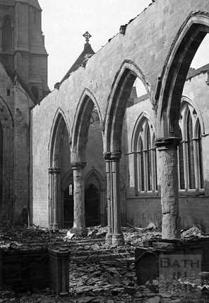 The burnt out interior of St Andrews church, Bath April 1942