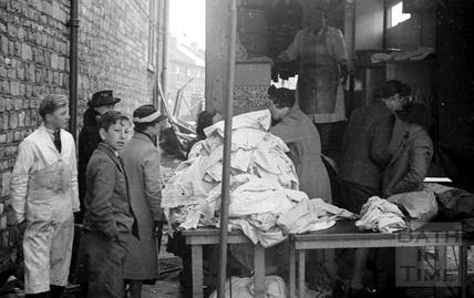 Queuing up at a mobile laundry, Oldfield Park, April 1942