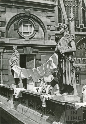 An ingenious washing line rigged up by staff at the Roman Baths British Restaurant, April 1942