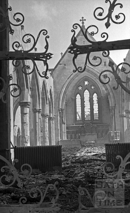 The west door and interior of St Andrews Church April 1942