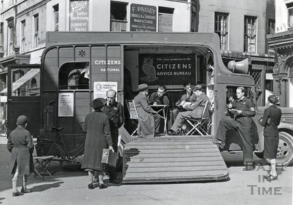 The Citizens Advice Bureau van in the central relief point, Bath, April 1942