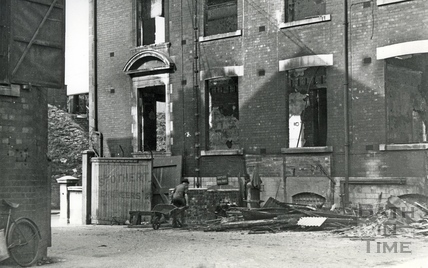 Burnt out headquarters of Stothert & Pitt, Bath, April 1942