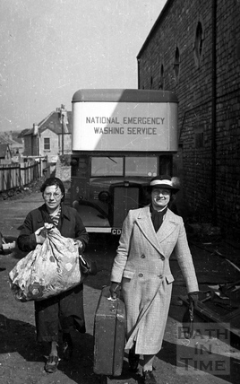 A mobile laundry, Scala car park, Shaftesbury Road, Oldfield Park, April 1942